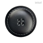 Leather Button 4 Holes: BMJ25 Black