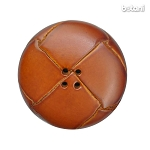 Leather Button 4 Holes: BMJ33 L. Brown